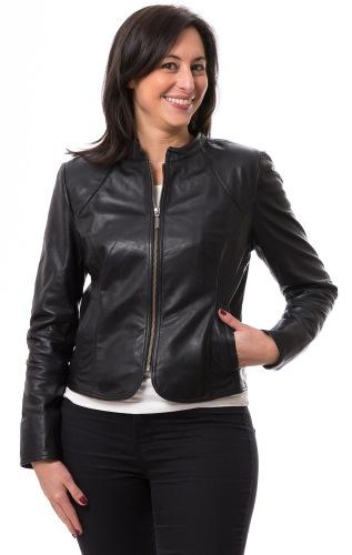 Linda schwarze Damen Lederjacke von TRENDZONE