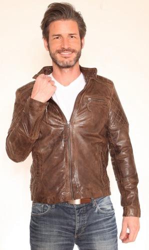 Josh braun Herren Leder Jacke von Trendzone