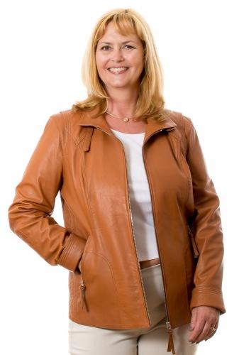 5501 cognac Lederjacke für Damen von Trendzone