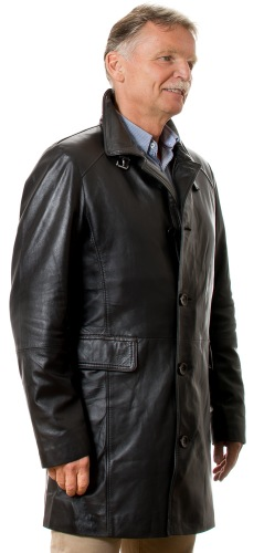 3502 schwarzer Kurz - Ledermantel für Herren