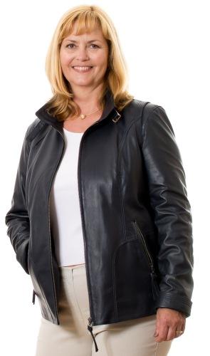 5501 dunkelblaue Damen Leder Jacke von TRENDZONE