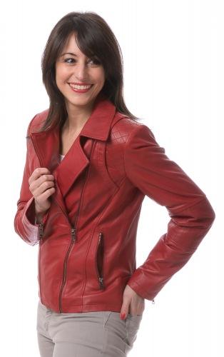 Alisha rot Lammnappa Leder Jacke von Trendzone