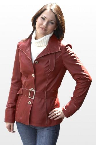 Damen Lederjacke CARA/4419(Rot)
