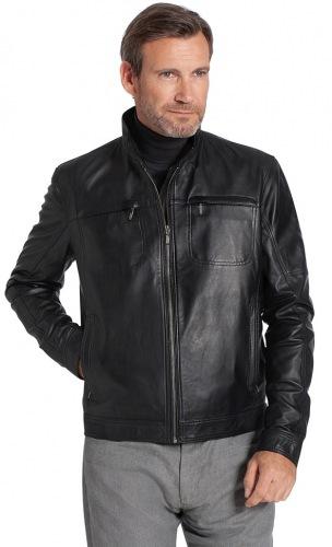 3216 LF Herren Lederjacke schwarz von Trendzone