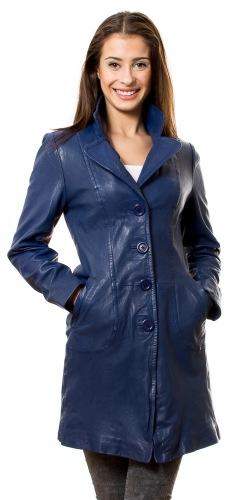 652 new blauer Leder Mantel für Damen