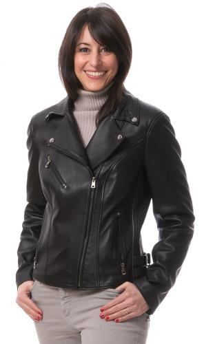 Klara schwarze Biker Lederjacke für Damen