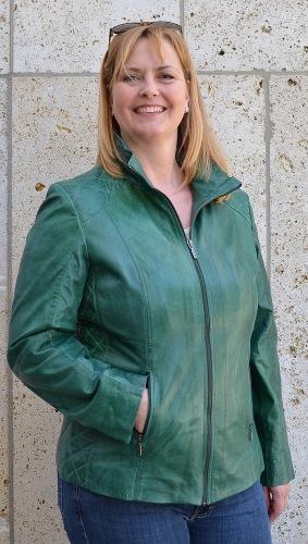 Ally grün Lederjacke für Damen von TRENDZONE - KOPIE