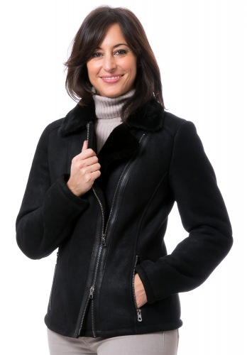 Chrissy schwarze Damen Lammfeljacke von TRENDZONE