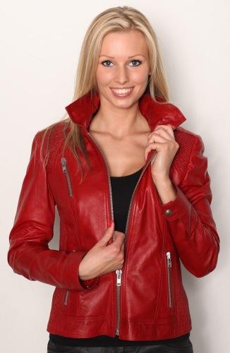 5397 Leder-Jacke rot von Trendzone