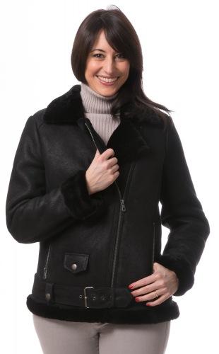 Becky schwarze Kurz-Lammfelljacke von TRENDZONE
