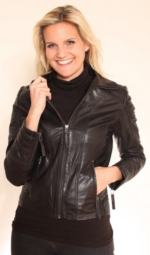 Julia schwarze Damen Lederjacke von Trendzone