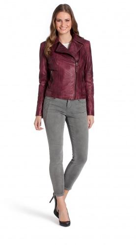 Alisha burgundy Lammnappa Leder Jacke von Trendzone