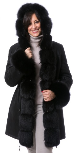Adele schwarz Kurzmantel aus Lammfell