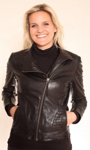 Trend schwarz Damen Kurzlederjacke