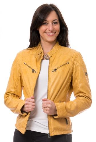 Sandy gelbe Leder Jacke für Damen von Gipsy