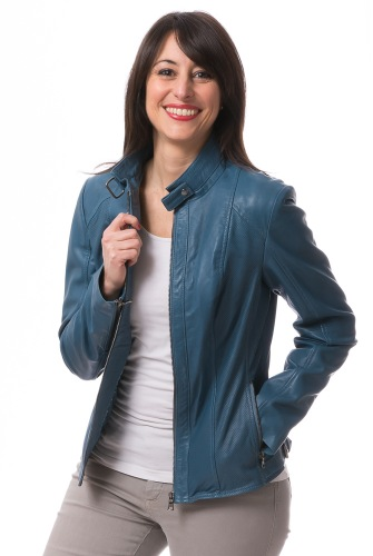 Mona hellblaue Damen Leder Jacke