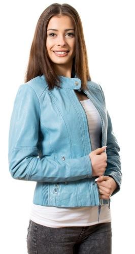 Kim hellblaue Damen Lederjacke von TRENDZONE