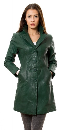 652 new dunkelgrüner Ledermantel für Damen von TRENDZONE