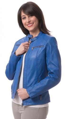 Tiara hellblaue Lederjacke für Damen von ROCKHILL