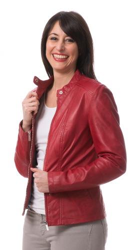 BJW-02 rote Damen Lederjacke von TRENDZONE