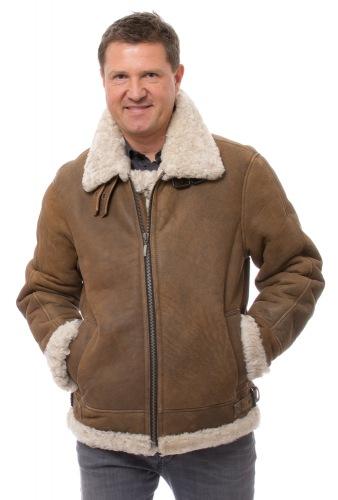 Frank braune Lammfelljacke für Herren
