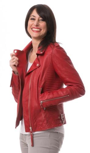 5645 rote Damen Lederjacke von TRENDZONE