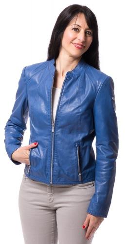 Gia blaue Kurz Jacke aus Nappa Leder für Frauen von MILESTONE