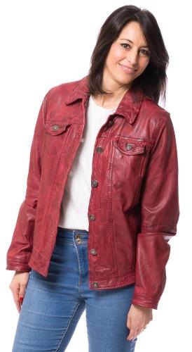 Janette kurze Lederjacke in rot von Maddox