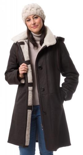 Sissy dunkelbraune Lammfell Jacke für Damen von RAKK Espana