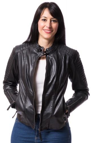Bea schwarze Lederjacke mit Reißverschluss von TRENDZONE