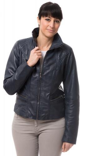 Artio dunkelblaue Leder Jacke von TRENDZONE
