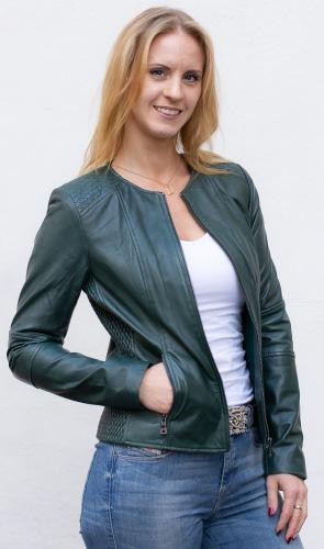 New Jolene grüne kragenlose Lederjacke von TRENDZONE