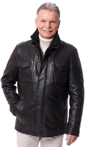 Eaton schwarz Herren Jacke aus Lammnappa Leder von ROCKHILL