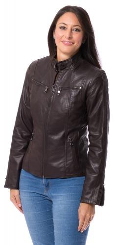 Stacy dunkelbraune Lederjacke für Damen von TRENDZONDE