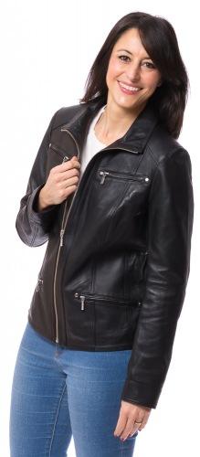SR-5893 Damen Nappa Jacke schwarz von TRENDZONE