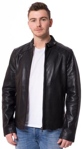 Alex E schwarze Rindleder Jacke für Männer von TRENDZONE