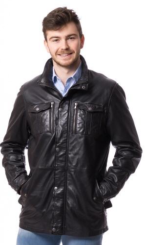 82314 E Fieldjacket schwarz aus Lammnappa Leder von TRENDZONE