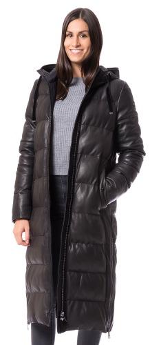 Tamina schwarzer Nappaleder Mantel von MILESTONE