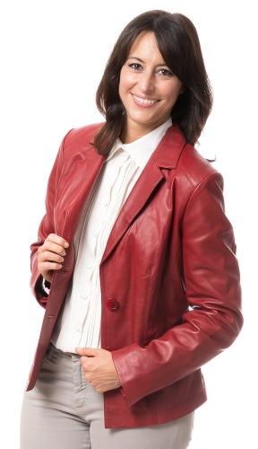 Amber roter Lederblazer für Damen von TRENDZONE