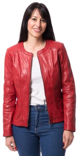 Nancy rote kragenlose, kurze Lederjacke von TRENDZONE