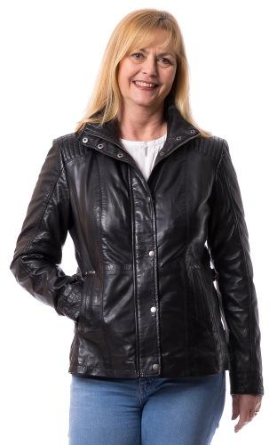 Inga E schwarze Lederjacke für Damen von TRENDZONE