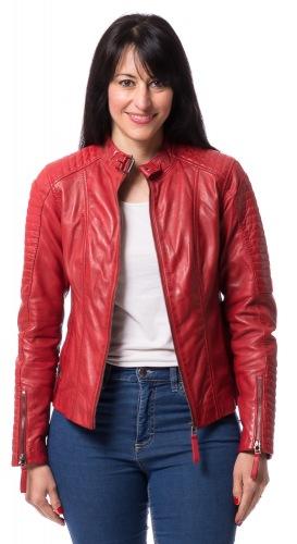 Bea rote Kurzlederjacke für Frauen von TRENDZONE
