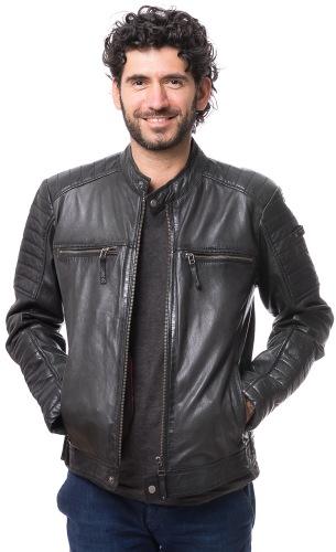 9020 schwarze Lammnappa Jacke für Männer von CABRINI