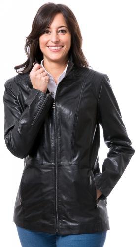 Romy schwarze Damen Lederjacke von TRENDZONE