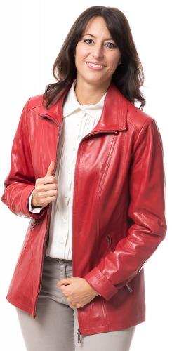 SR-1069 rote Lederjacke für Frauen von TRENDZONE