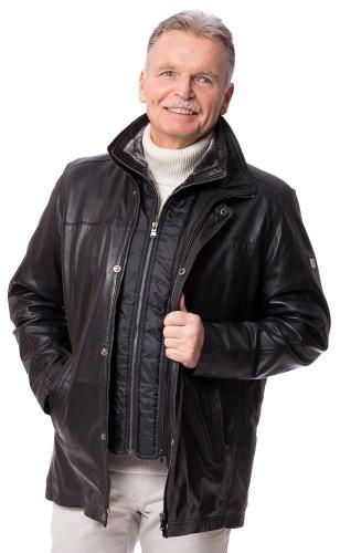 Carlson schwarze Lederjacke für Männer von OTTO KERN