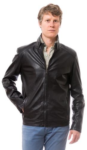 Notch schwarze Herren Leder Jacke von TRENDZONE
