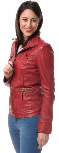Miami long rote Leder Jacke von TRENDZONE