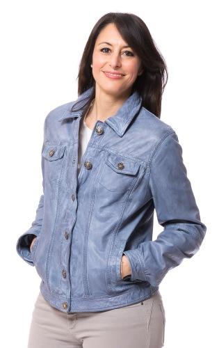 Janette Damen Leder Jacke in hellblau von MADDOX