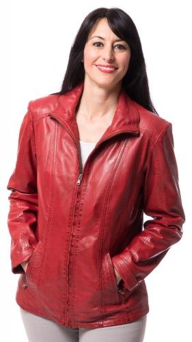 Serena rote Damen Leder Jacke von TRENDZONE
